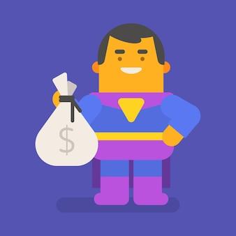 돈 가방을 들고 웃 고 슈퍼 히어로입니다. 벡터 문자입니다. 벡터 일러스트 레이 션