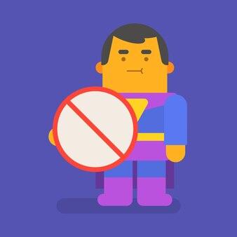 슈퍼 히어로 지주 금지 기호입니다. 벡터 문자입니다. 벡터 일러스트 레이 션