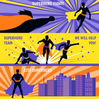 Superhero horizontal banners set