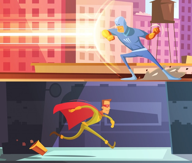 Superhero horizontal cartoon banners set
