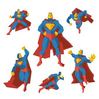 さまざまなアクションのスーパーヒーロー。コスチュームのスーパーヒーロー、多角形の幾何学的な男はマントを着ています。ベクトルイラストセット