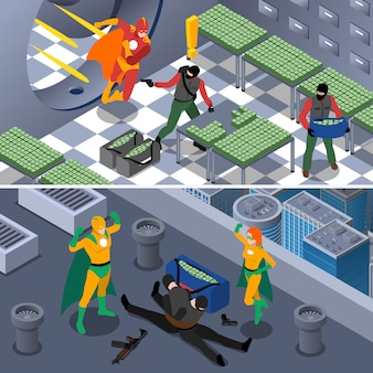 Superhero isometric background set