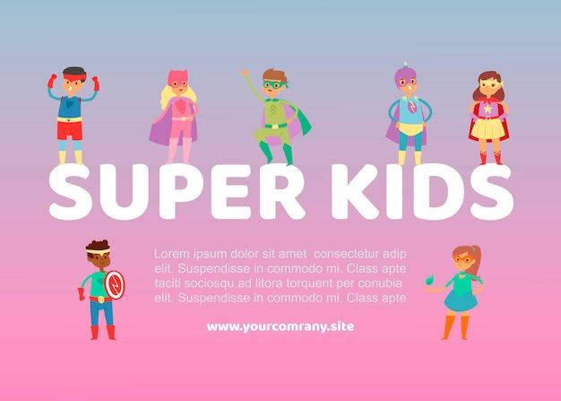 Superhero kids in costumes web illustration or poster.