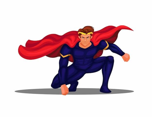 スーパーヒーロー着陸ポーズキャラクターイラストベクトル