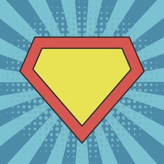 Superhero logo template at comic sunburst background with dots halftone effects
