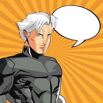 유니폼과 거품 아이콘 슈퍼 히어로 남자 만화
