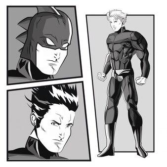 유니폼 아이콘으로 슈퍼 히어로 남자 만화