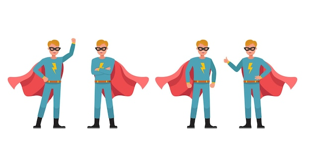 슈퍼 히어로 남자 캐릭터 벡터 디자인입니다. 다양한 액션의 프레젠테이션. 2번