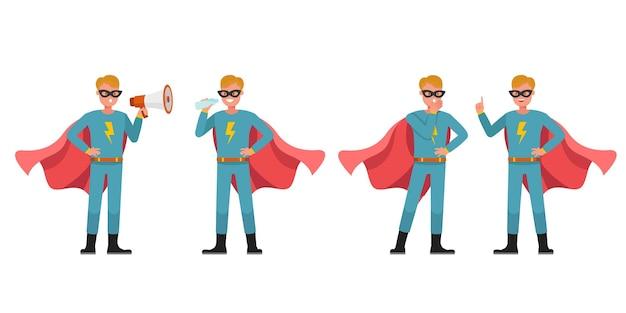 슈퍼 히어로 남자 캐릭터 벡터 디자인입니다. 다양한 액션의 프레젠테이션. 아니 5