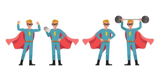 슈퍼 히어로 남자 캐릭터 벡터 디자인입니다. 다양한 액션의 프레젠테이션.