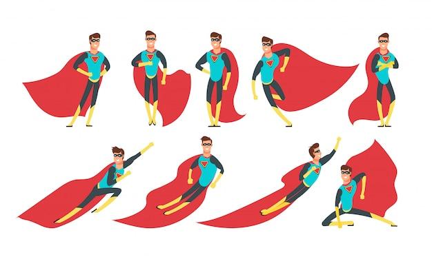 さまざまなポーズでスーパーヒーローの男。漫画のスーパーヒーローベクトルコミック文字セット