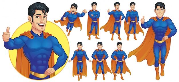 9つのポーズのスーパーヒーローマスコットキャラクター