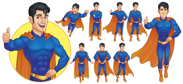 Superhero mascot character in nine poses
