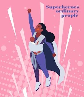 スリングで赤ちゃんと若い黒人女性とスーパーヒーローの母親の等角投影図 無料ベクター