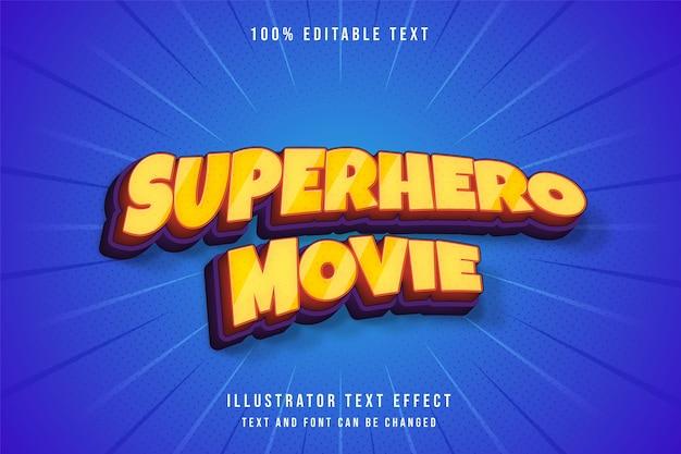 Супергеройский фильм, редактируемый текстовый эффект 3d. комический стиль текста