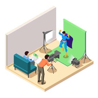 카메라 오퍼레이터와 함께 스튜디오에서 촬영하는 슈퍼 히어로 영화 액션 장면