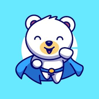 슈퍼 히어로 북극곰 귀여운 벡터 일러스트 만화 아이콘