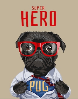 Superhero pug dog illustration