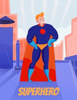 青いフルボディスーツとオレンジ色のケープの屋根の上に立っているスーパーヒーローのレトロな漫画のキャラクター