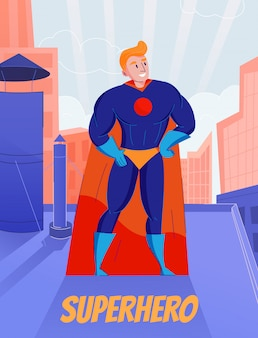 Superhero retro comic book character standing on roof in blue full bodysuit and orange cape