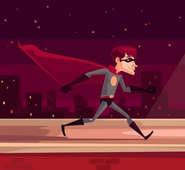 Superhero running across roof illustratio