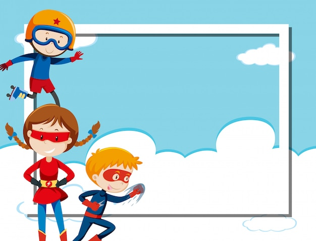 Superhero on sky frame