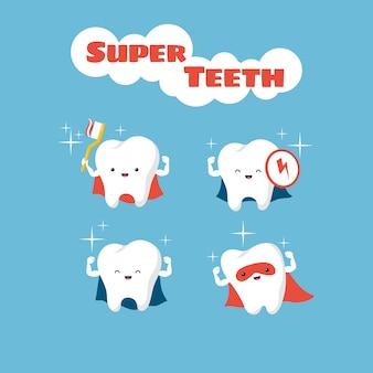 Superhero smiling kids teeth vector characters