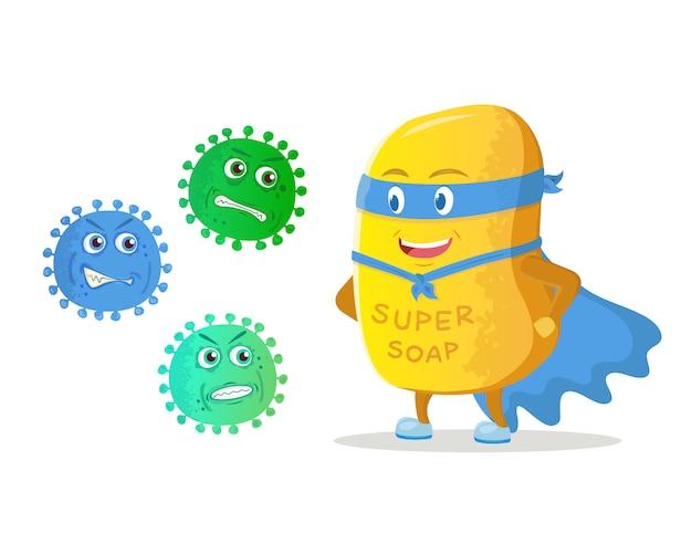 スーパーヒーローの石鹸は飛行中の怒っている微生物の前で勝者の位置に立っています