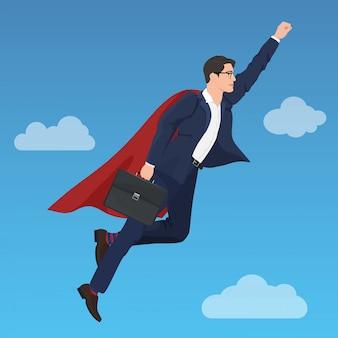 Superhero successful businessman flying