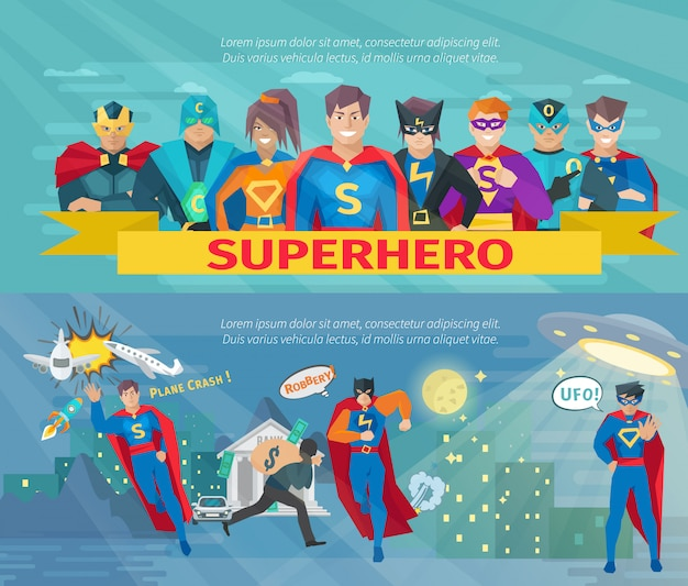 Superhero team horizontal banners set with saving the world symbols