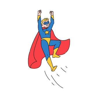 Superhero teenage boy flying, sketch cartoon illustration isolated