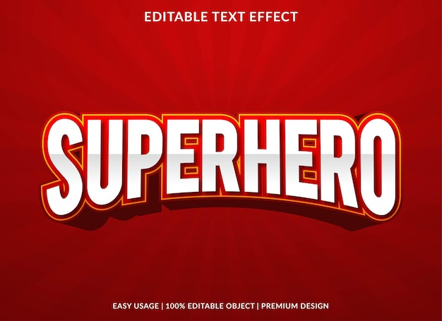 Superhero text effect editable template premium vector
