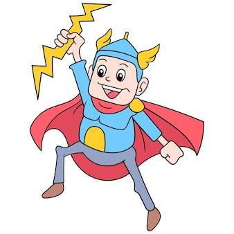 彼の主なスタイル、ベクトルイラストアートとして稲妻を制御するスーパーヒーロートール神。落書きアイコン画像カワイイ。