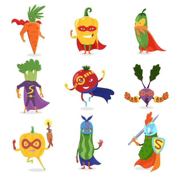 Superhero vegetables in masks and capes set