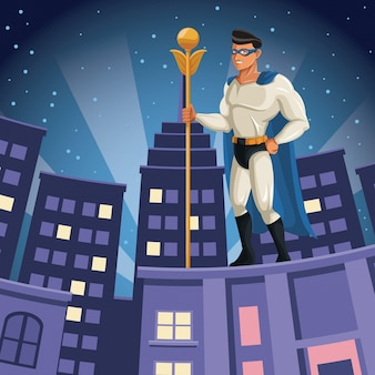 Superhero watching over building city night view