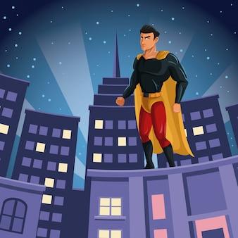 도시 야경을보고 슈퍼 히어로