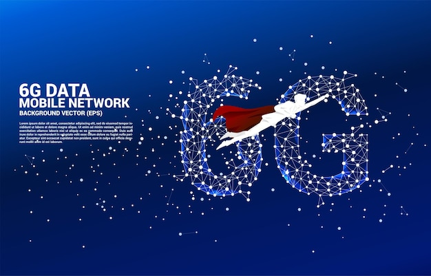 Superhero with polygon dot connect line shaped 6g mobile network. concept for mobile phone data technology.