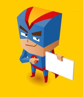 サインボード付きスーパーヒーロー