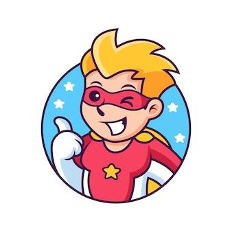 親指を立てるポーズの漫画のスーパー ヒーロー。アイコンの図。分離された人アイコン コンセプト