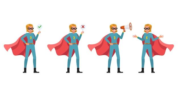 슈퍼 히어로 여자 캐릭터 벡터 디자인입니다. 다양한 액션의 프레젠테이션. 3번