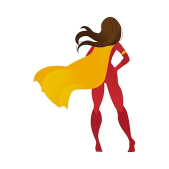 Superhero woman or female personage in a cape flat illustration
