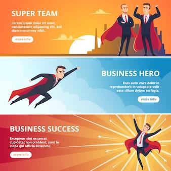 スーパーヒーローズビジネス。男性キャラクタービジネスコンセプトイラスト