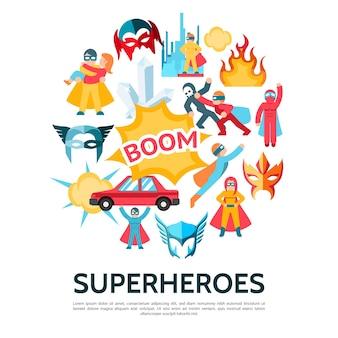 フラットスタイルのスーパーヒーロー要素テンプレート