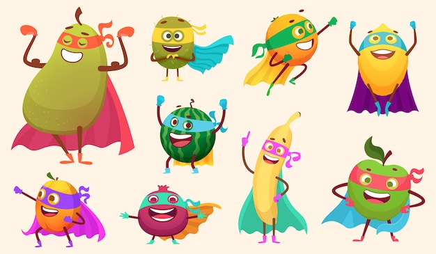 Superheroes fruits collection. characters healthy vegetables comics style action poses garden food mascot collection. characters fruits superhero, hero cartoon vegetable illustration