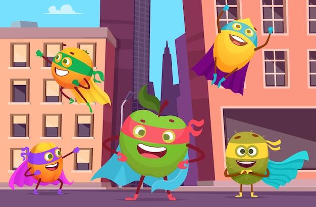 도시의 슈퍼 히어로. 행동에 과일 캐릭터와 도시 풍경은 건강 식품 영웅 배경 포즈.