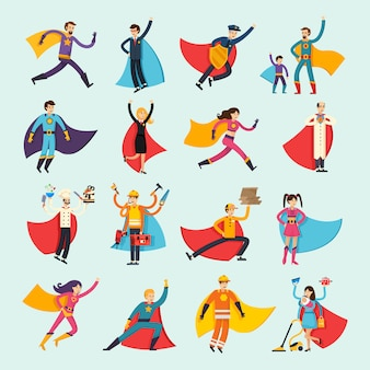 Superheroes orthogonal flat people set