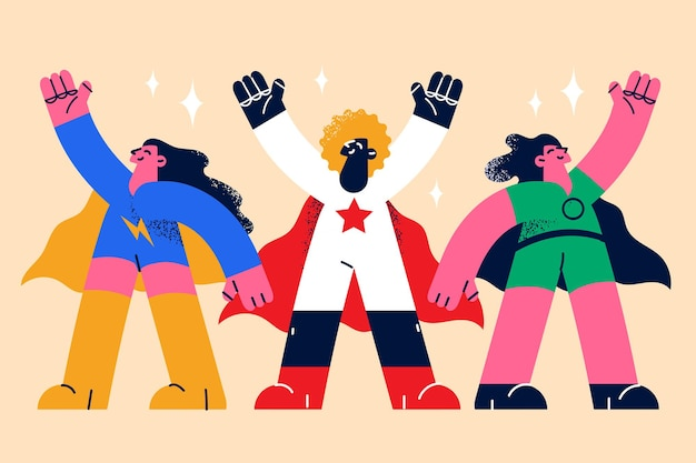 Superheroes women and superpower concept
