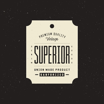 Superior denim clothing tag, retro vintage apparel label template