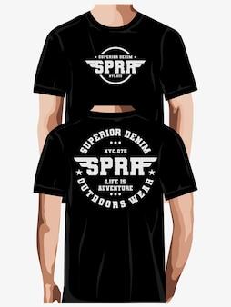 Превосходный дизайн футболки из денима премиум векторы