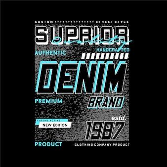 우수한 품질의 데님 브랜드 추상 그래픽 디자인 타이포그래피 벡터 일러스트 레이션